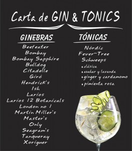Carta Gin Tonics