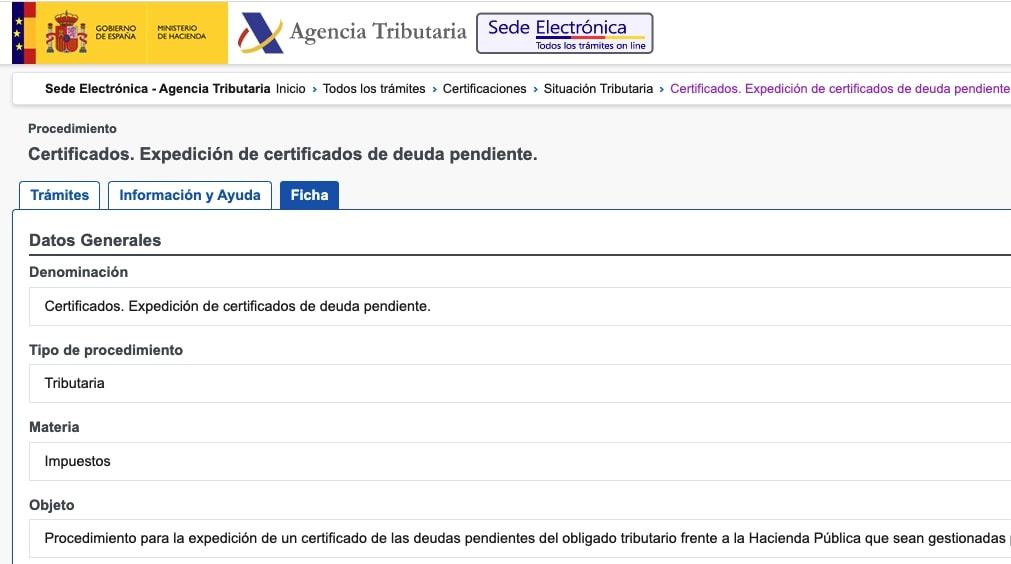 Certificado de deuda pendiente